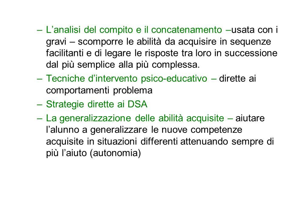 –Lanalisi del compito e il concatenamento –usata con i gravi – scomporre le abilità da acquisire in sequenze facilitanti e di legare le risposte tra l