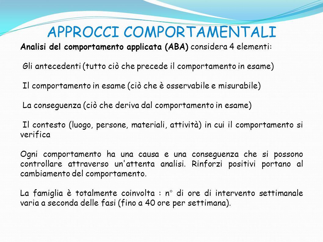 APPROCCI COMPORTAMENTALI Analisi del comportamento applicata (ABA) considera 4 elementi: Gli antecedenti (tutto ciò che precede il comportamento in es