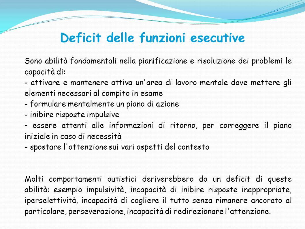 Deficit delle funzioni esecutive Sono abilità fondamentali nella pianificazione e risoluzione dei problemi le capacità di: - attivare e mantenere atti