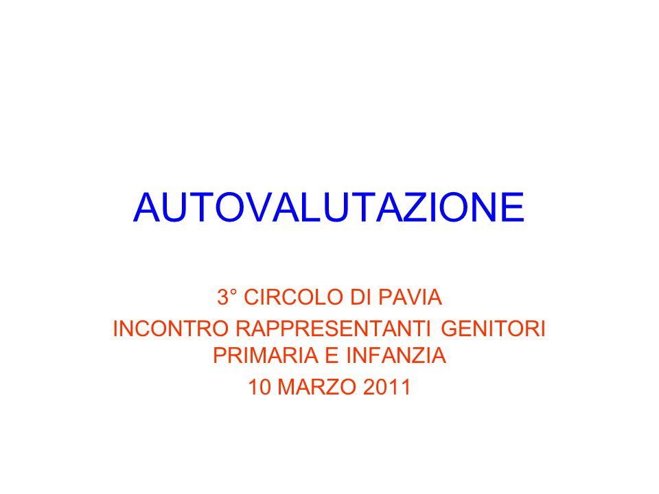 AUTOVALUTAZIONE 3° CIRCOLO DI PAVIA INCONTRO RAPPRESENTANTI GENITORI PRIMARIA E INFANZIA 10 MARZO 2011