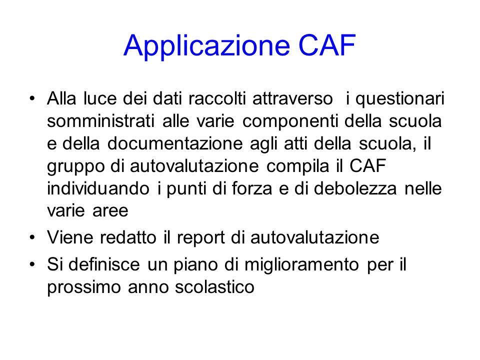 Applicazione CAF Alla luce dei dati raccolti attraverso i questionari somministrati alle varie componenti della scuola e della documentazione agli att