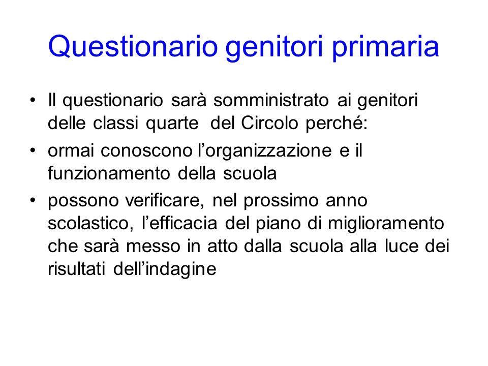 Questionario genitori primaria Il questionario sarà somministrato ai genitori delle classi quarte del Circolo perché: ormai conoscono lorganizzazione
