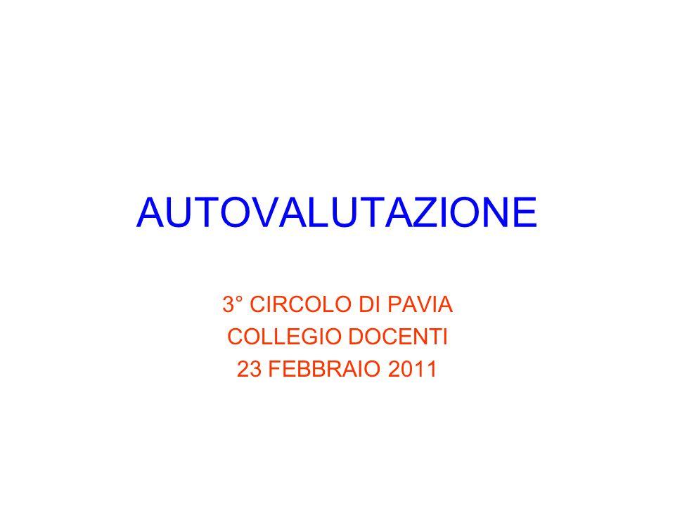 AUTOVALUTAZIONE 3° CIRCOLO DI PAVIA COLLEGIO DOCENTI 23 FEBBRAIO 2011