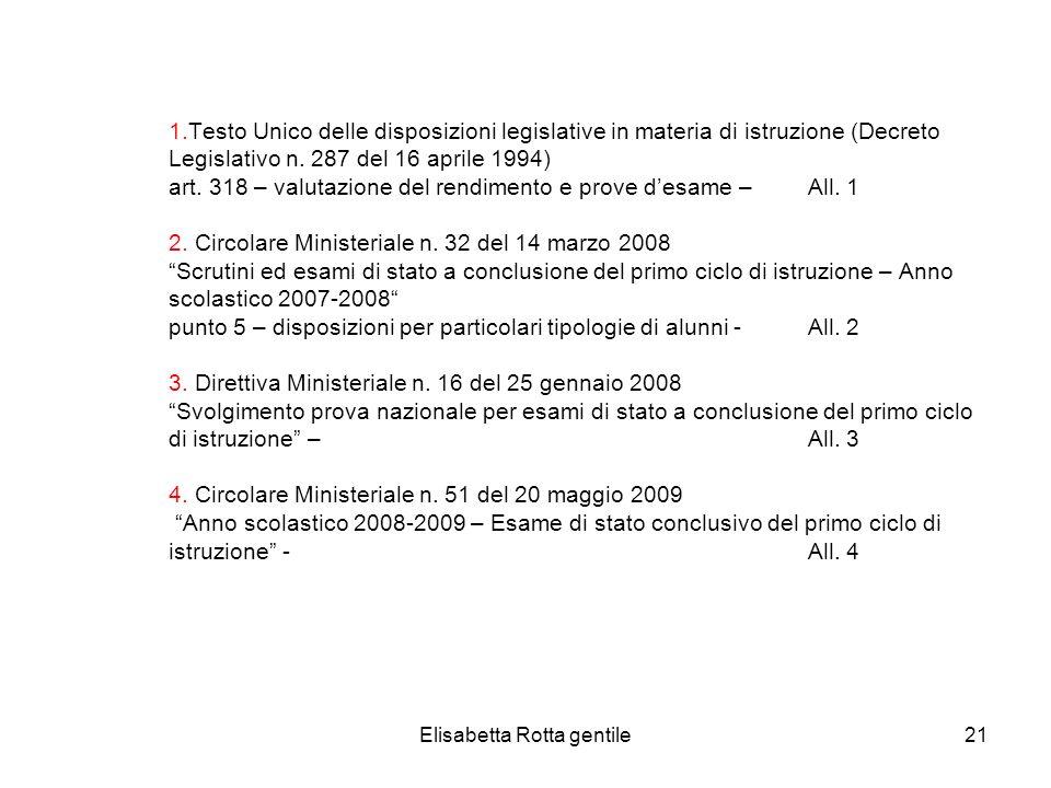 Elisabetta Rotta gentile21 1.Testo Unico delle disposizioni legislative in materia di istruzione (Decreto Legislativo n. 287 del 16 aprile 1994) art.