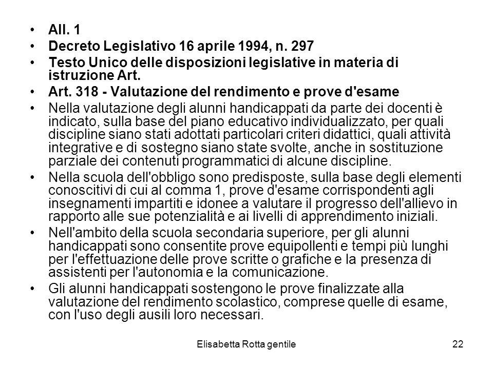 Elisabetta Rotta gentile22 All. 1 Decreto Legislativo 16 aprile 1994, n. 297 Testo Unico delle disposizioni legislative in materia di istruzione Art.
