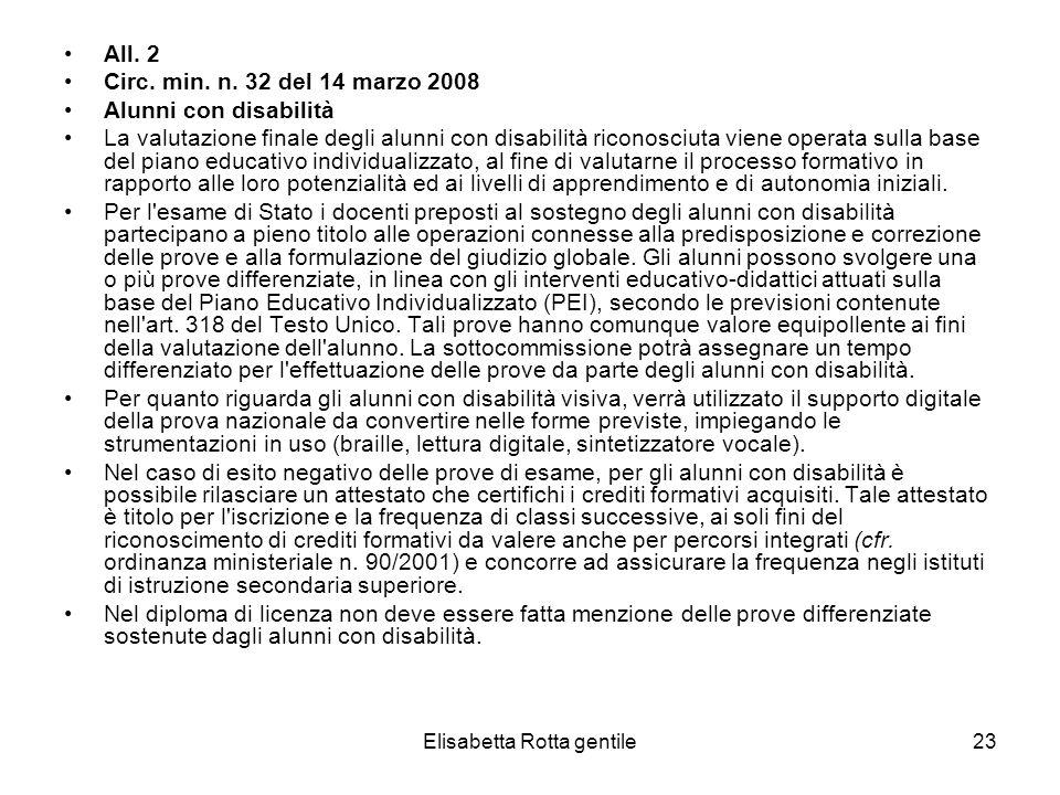 Elisabetta Rotta gentile23 All. 2 Circ. min. n. 32 del 14 marzo 2008 Alunni con disabilità La valutazione finale degli alunni con disabilità riconosci