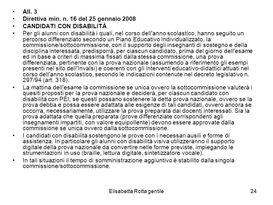 Elisabetta Rotta gentile24 All. 3 Direttiva min. n. 16 del 25 gennaio 2008 CANDIDATI CON DISABILITÀ Per gli alunni con disabilità i quali, nel corso d