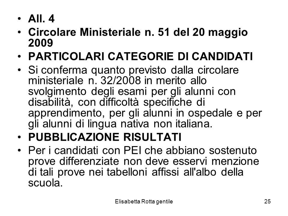 Elisabetta Rotta gentile25 All. 4 Circolare Ministeriale n. 51 del 20 maggio 2009 PARTICOLARI CATEGORIE DI CANDIDATI Si conferma quanto previsto dalla