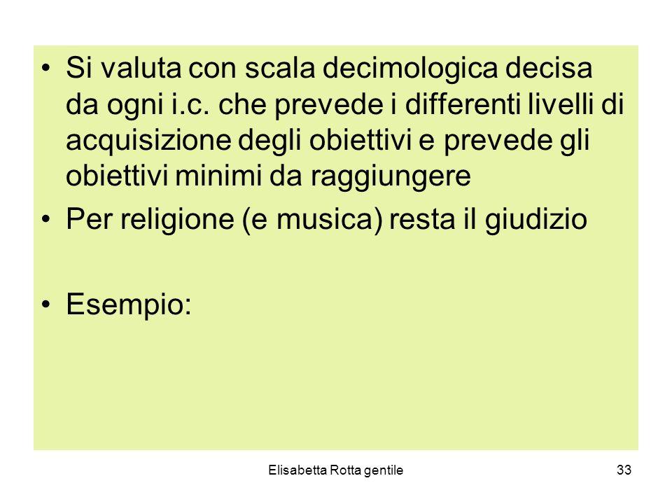 Elisabetta Rotta gentile33 Si valuta con scala decimologica decisa da ogni i.c. che prevede i differenti livelli di acquisizione degli obiettivi e pre