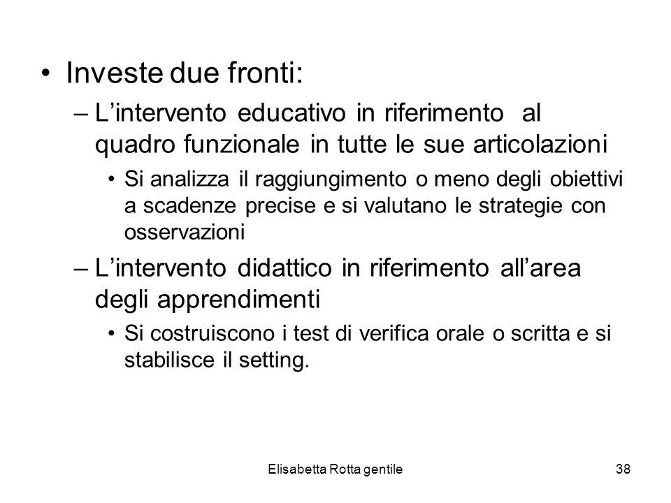 Elisabetta Rotta gentile38 Investe due fronti: –Lintervento educativo in riferimento al quadro funzionale in tutte le sue articolazioni Si analizza il