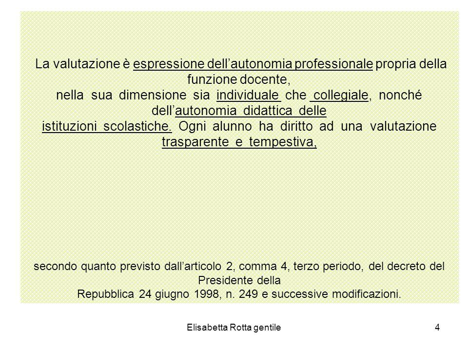 Elisabetta Rotta gentile35 VO TO GIUDIZI/DE SCRIT TORI COMPETENZEII QUADRIMESTRE CONTENUTI DISCIPLINARI DI ITALIANO CL 1^CL 2^CL 3^CL4^ CL5^ 4 GRAVEMENT E INSUFFICIE NTE -Conoscenze parziali dei contenuti minimi -Difficoltà ad applicare le scarse conoscenze acquisite -Autonomia molto limitata -Incostanza nellesecuzio ne dei compiti -Si esprime in modo stentato ed improprio 1)Ascoltare,comp rendere,comunica re oralmente 2)Leggere e comprendere 3)Produrre e rielaborare testi scritti 4)Riconoscere le strutture della lingua e arricchire il lessico 1.1- Insufficiente capacità di attenzione e di ascolto 1.2- Incomprensione di consegne e di semplici contenuti 2.1-Grave difficoltà nel riconoscere fonemi e grafemi corrispondenti 3.1-Grave difficoltà nellassociare e fonemi a grafemi 4.1-Grave difficoltà a riprodurre i grafemi in stampato maiuscolo e corsivo 1.1-Non interagisce nello scambio comunicativo in modo adeguato 1.2-Non ascolta e non comprende le consegne 1.3-Si esprime in modo disorganico 2.1-Legge in modo molto stentato ed inesatto senza comprendere un breve testo 3.1-Scrive solo parole sotto dettatura 4.1-Non conosce e non sa usare le convenzioni ortografiche 4.2-Non riconosce le parti del discorso:nome, articolo,aggettiv o, verbo 1.1Interviene in modo inadeguato senza rispettare il turno 2.1-Lettura lenta e scorretta con comprensione difficoltosa 3.1-Scrive semplici frasi solo sottodettatura 4.1Non rispetta e non usa le regole ortografiche 1.1-Non partecipa spontaneament e alle conversazioni 1.2-Non riconosce gli elementi della comunicazione: emittente destinatario, scopo 2.1-Lettura stentata ed inespressiva con difficoltà di comprensione.