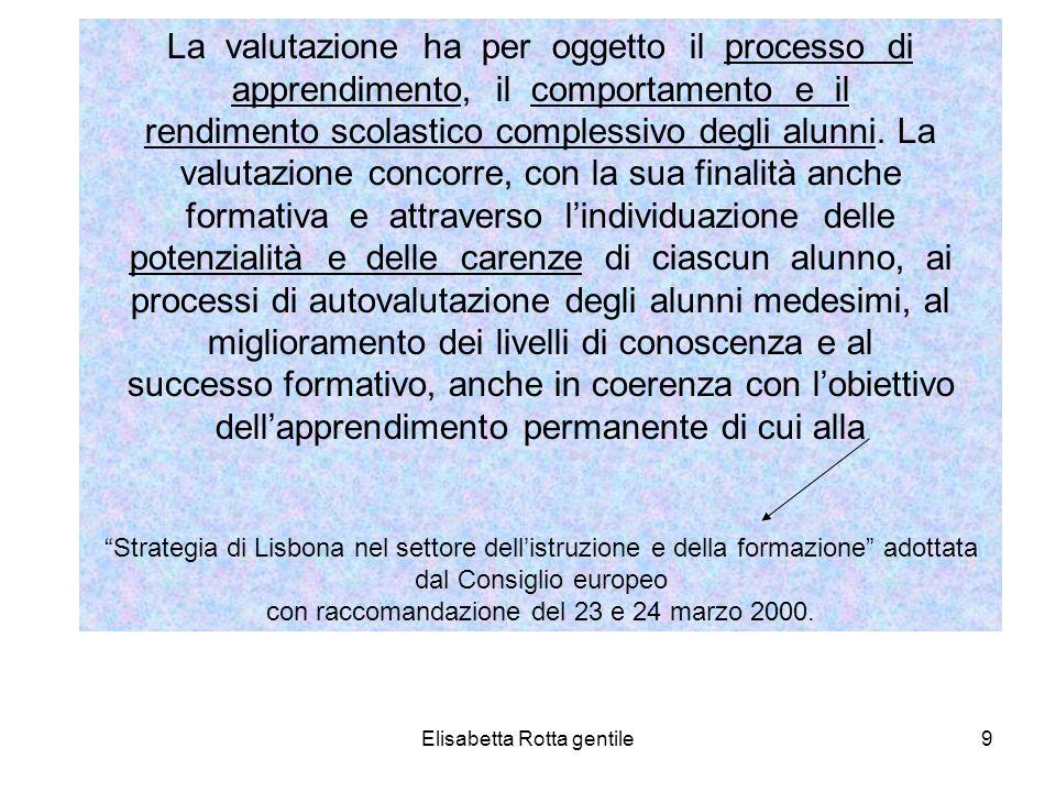 Elisabetta Rotta gentile9 La valutazione ha per oggetto il processo di apprendimento, il comportamento e il rendimento scolastico complessivo degli al
