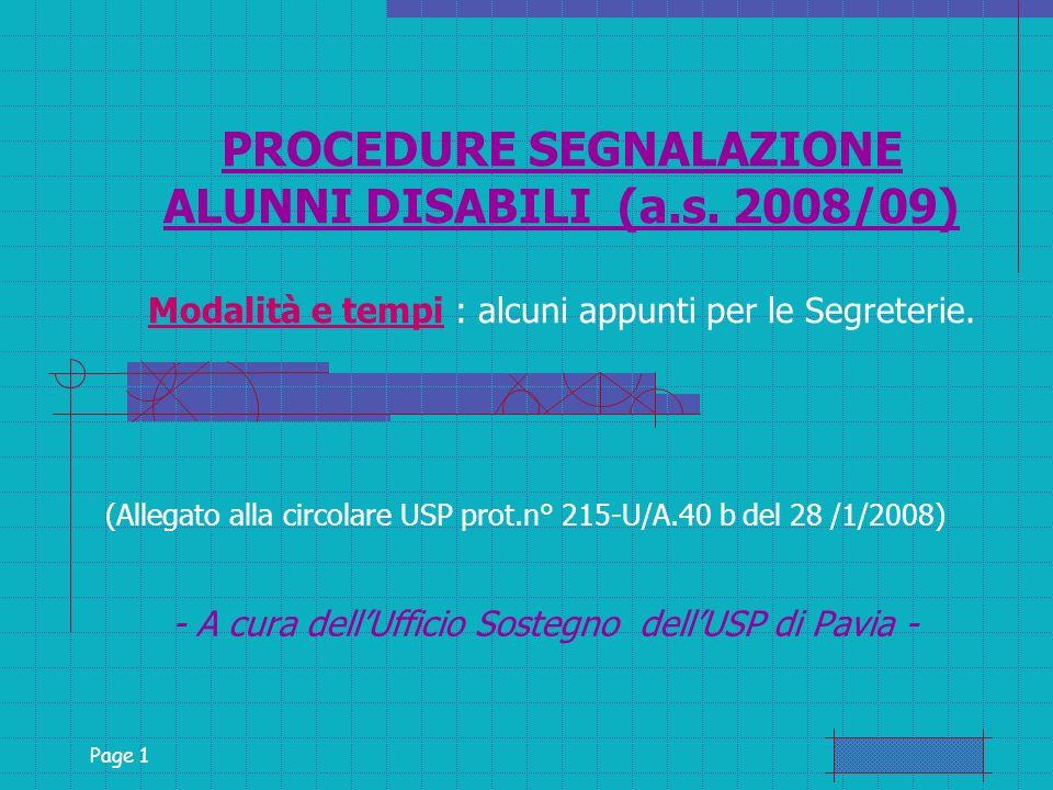Page 1 PROCEDURE SEGNALAZIONE ALUNNI DISABILI (a.s.