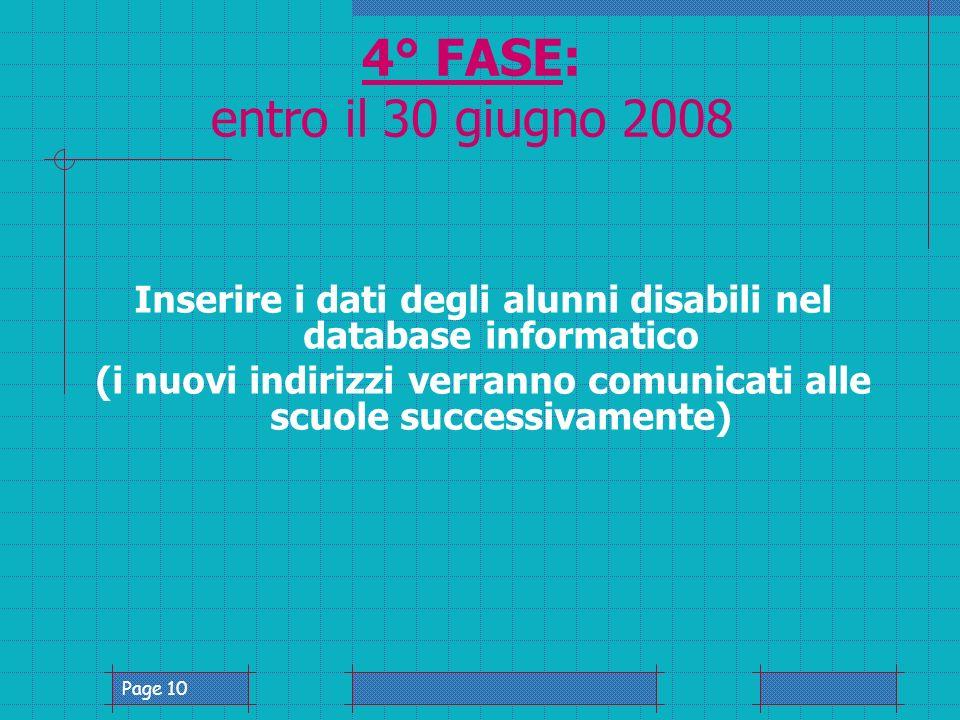 Page 10 4° FASE: entro il 30 giugno 2008 Inserire i dati degli alunni disabili nel database informatico (i nuovi indirizzi verranno comunicati alle scuole successivamente)