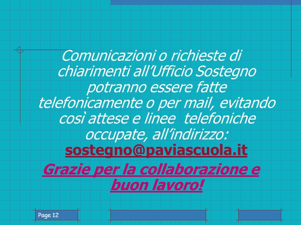 Page 12 Comunicazioni o richieste di chiarimenti allUfficio Sostegno potranno essere fatte telefonicamente o per mail, evitando così attese e linee telefoniche occupate, allindirizzo: sostegno@paviascuola.it sostegno@paviascuola.it Grazie per la collaborazione e buon lavoro!