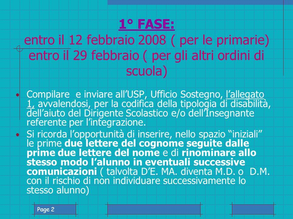 Page 2 1° FASE: entro il 12 febbraio 2008 ( per le primarie) entro il 29 febbraio ( per gli altri ordini di scuola) Compilare e inviare allUSP, Ufficio Sostegno, lallegato 1, avvalendosi, per la codifica della tipologia di disabilità, dellaiuto del Dirigente Scolastico e/o dellInsegnante referente per lintegrazione.
