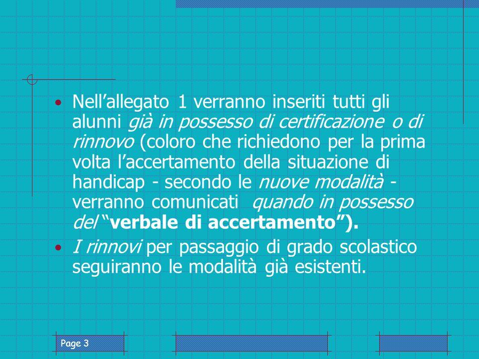 Page 4 Solo per gli alunni delle classe prime e per le nuove certificazioni, si allegherà copia della diagnosi o del verbale.