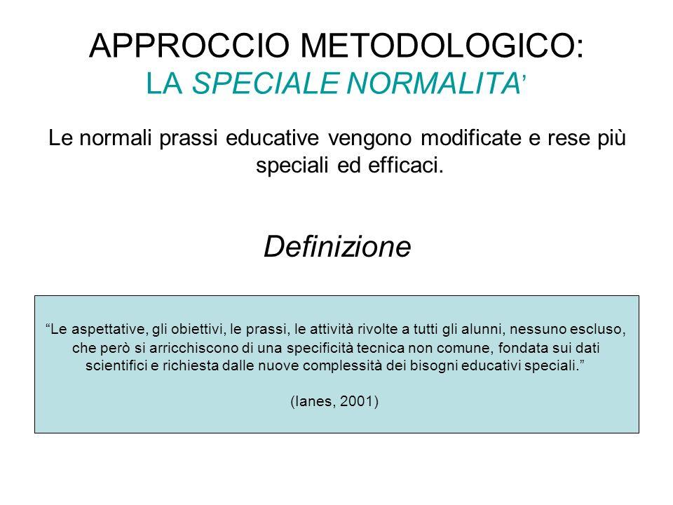 APPROCCIO METODOLOGICO: LA SPECIALE NORMALITA Le normali prassi educative vengono modificate e rese più speciali ed efficaci. Definizione Le aspettati