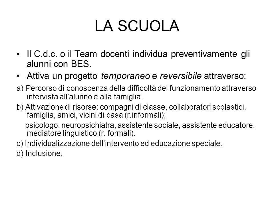 LA SCUOLA Il C.d.c. o il Team docenti individua preventivamente gli alunni con BES. Attiva un progetto temporaneo e reversibile attraverso: a) Percors