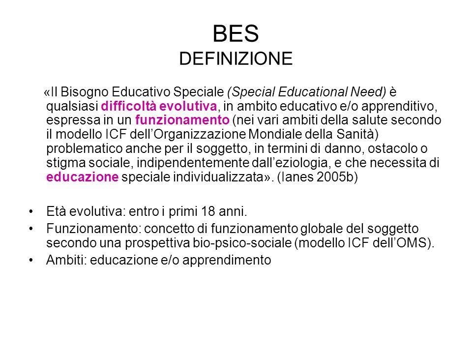 BES DEFINIZIONE «Il Bisogno Educativo Speciale (Special Educational Need) è qualsiasi difcoltà evolutiva, in ambito educativo e/o apprenditivo, espres