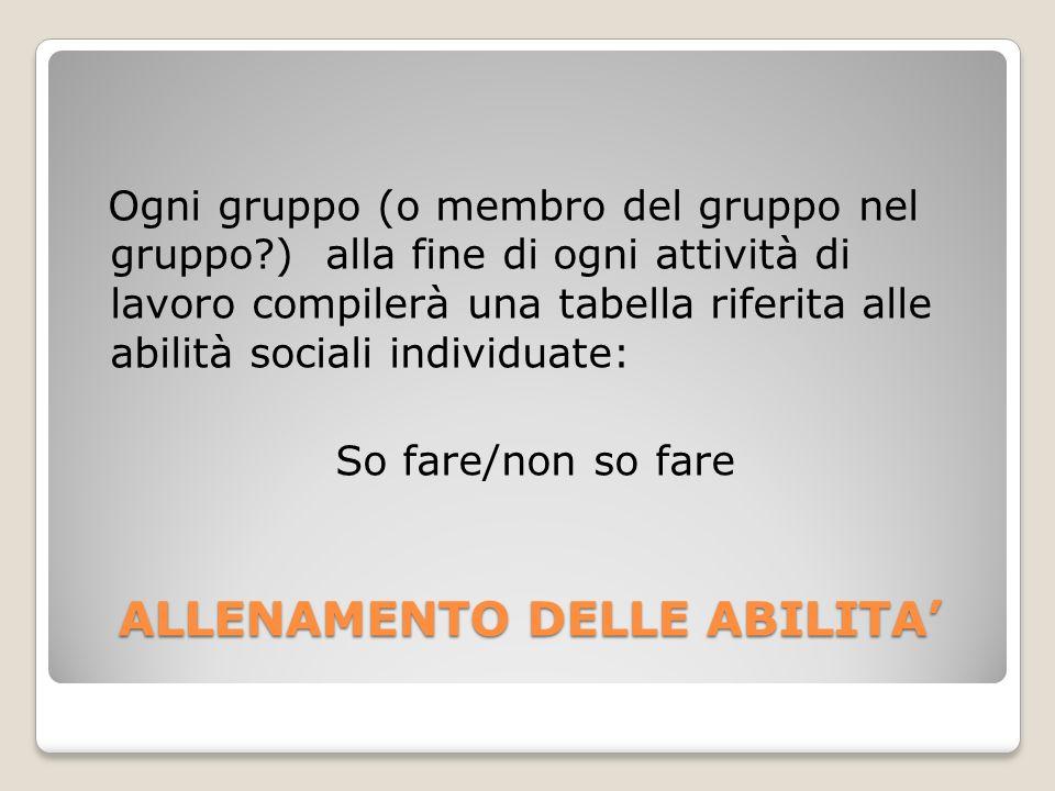 ALLENAMENTO DELLE ABILITA Ogni gruppo (o membro del gruppo nel gruppo?) alla fine di ogni attività di lavoro compilerà una tabella riferita alle abili