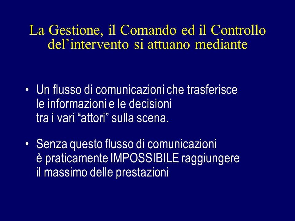 La Gestione, il Comando ed il Controllo delintervento si attuano mediante Un flusso di comunicazioni che trasferisce le informazioni e le decisioni tra i vari attori sulla scena.