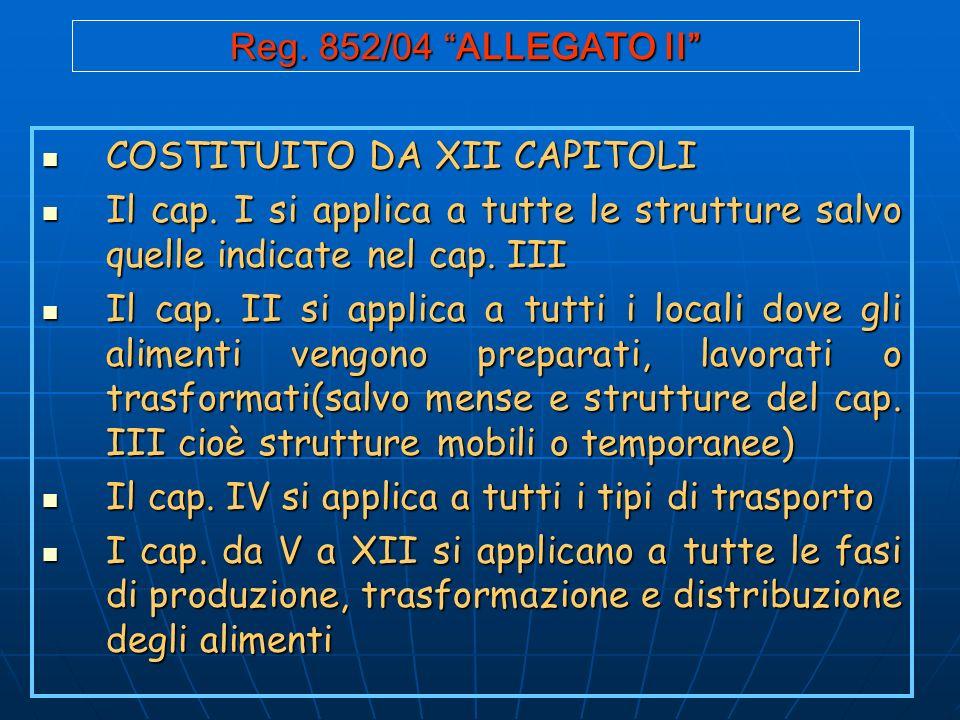 Reg.852/04 ALLEGATO II COSTITUITO DA XII CAPITOLI COSTITUITO DA XII CAPITOLI Il cap.