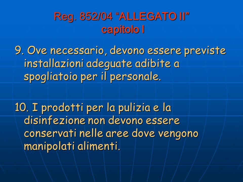Reg.852/04 ALLEGATO II capitolo I 9.