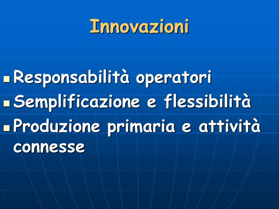 Innovazioni Responsabilità operatori Responsabilità operatori Semplificazione e flessibilità Semplificazione e flessibilità Produzione primaria e attività connesse Produzione primaria e attività connesse