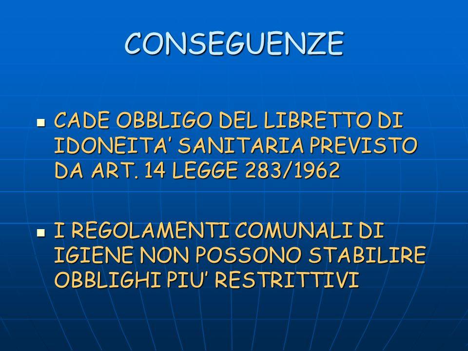 CONSEGUENZE CADE OBBLIGO DEL LIBRETTO DI IDONEITA SANITARIA PREVISTO DA ART.