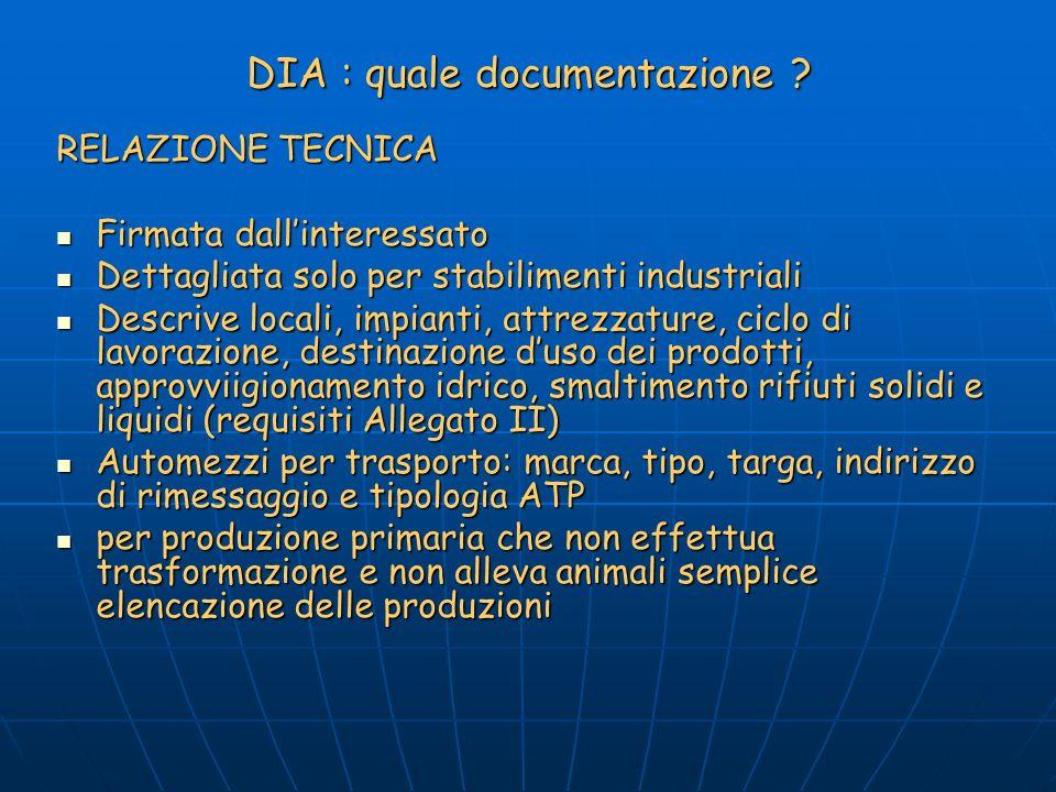 DIA : quale documentazione .