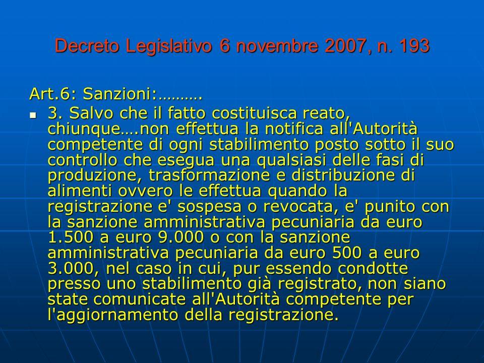 Decreto Legislativo 6 novembre 2007, n.193 Art.6: Sanzioni:……….