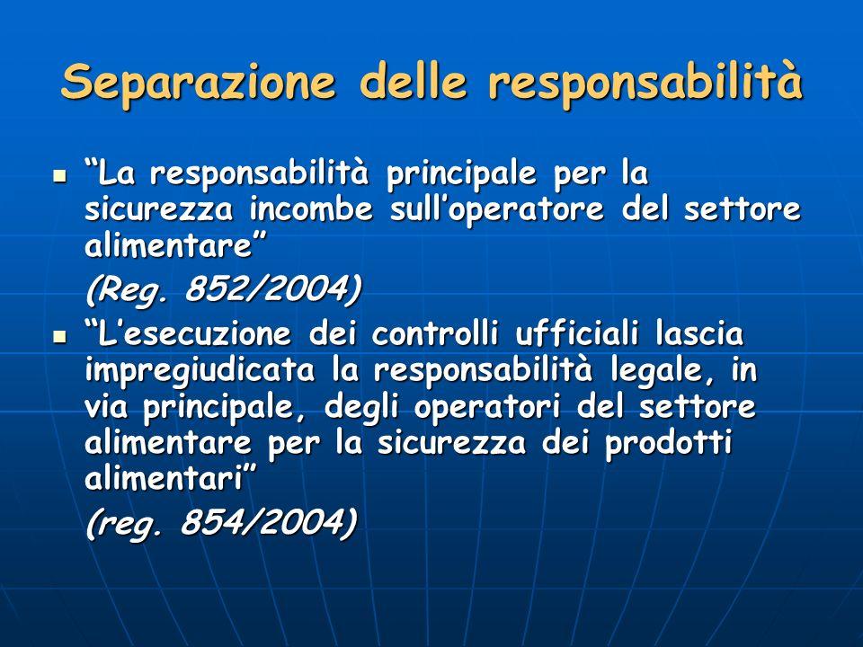 Separazione delle responsabilità La responsabilità principale per la sicurezza incombe sulloperatore del settore alimentare La responsabilità principale per la sicurezza incombe sulloperatore del settore alimentare (Reg.