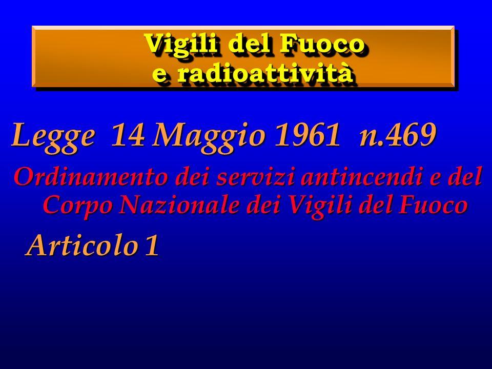 Vigili del Fuoco e radioattività Vigili del Fuoco e radioattività Legge 14 Maggio 1961 n.469 Ordinamento dei servizi antincendi e del Corpo Nazionale dei Vigili del Fuoco Articolo 1 Articolo 1