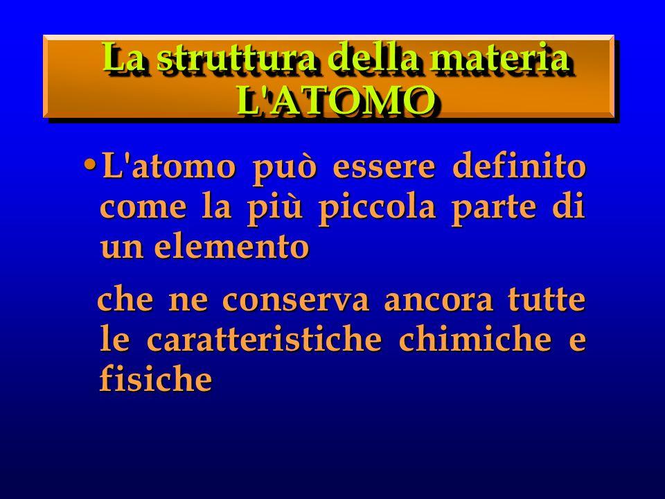 L atomo può essere definito come la più piccola parte di un elemento L atomo può essere definito come la più piccola parte di un elemento che ne conserva ancora tutte le caratteristiche chimiche e fisiche che ne conserva ancora tutte le caratteristiche chimiche e fisiche La struttura della materia L ATOMO