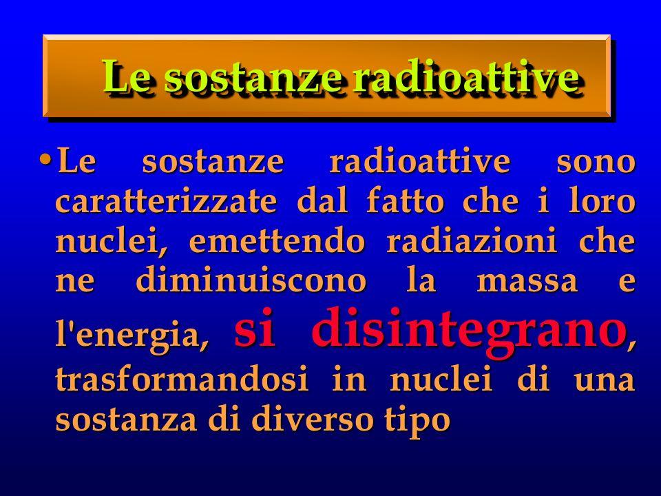 Le sostanze radioattive sono caratterizzate dal fatto che i loro nuclei, emettendo radiazioni che ne diminuiscono la massa e l energia, si disintegrano, trasformandosi in nuclei di una sostanza di diverso tipo Le sostanze radioattive sono caratterizzate dal fatto che i loro nuclei, emettendo radiazioni che ne diminuiscono la massa e l energia, si disintegrano, trasformandosi in nuclei di una sostanza di diverso tipo Le sostanze radioattive