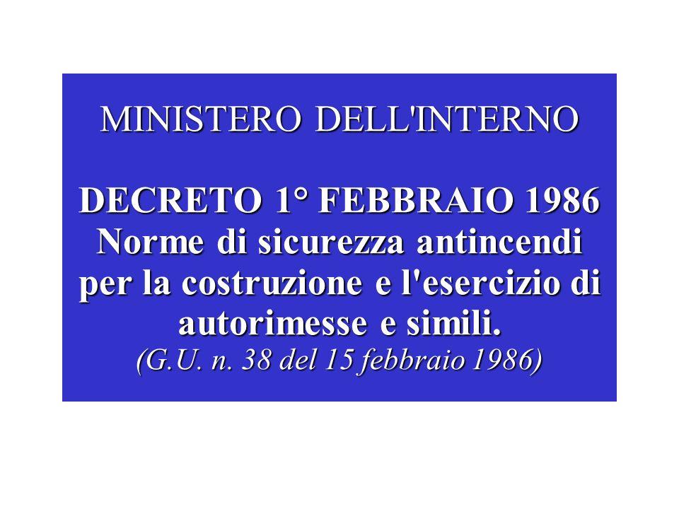 MINISTERO DELL'INTERNO DECRETO 1° FEBBRAIO 1986 Norme di sicurezza antincendi per la costruzione e l'esercizio di autorimesse e simili. (G.U. n. 38 de
