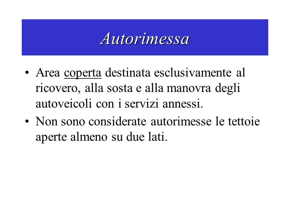 Autorimessa Area coperta destinata esclusivamente al ricovero, alla sosta e alla manovra degli autoveicoli con i servizi annessi. Non sono considerate
