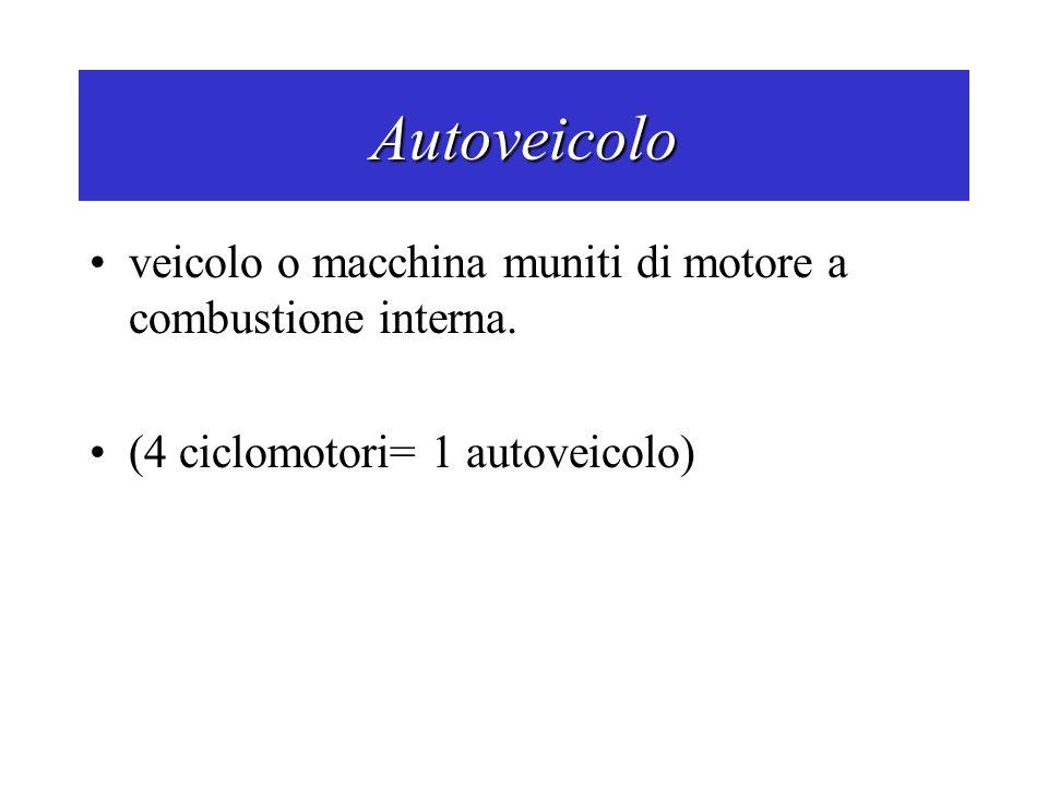 Autoveicolo veicolo o macchina muniti di motore a combustione interna. (4 ciclomotori= 1 autoveicolo)