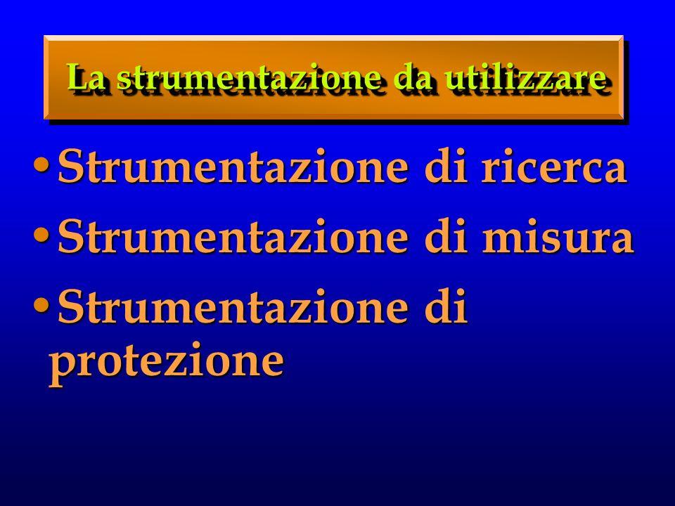Strumentazione di ricerca Strumentazione di ricerca Strumentazione di misura Strumentazione di misura Strumentazione di protezione Strumentazione di p
