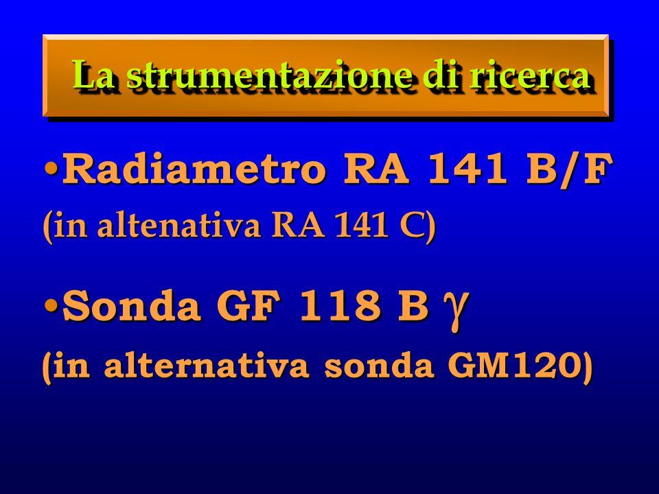 La strumentazione di ricerca Radiametro RA 141 B/F Radiametro RA 141 B/F (in altenativa RA 141 C) Sonda GF 118 B Sonda GF 118 B (in alternativa sonda