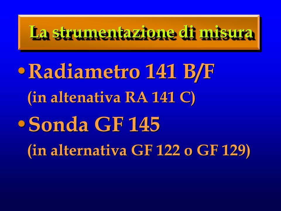 Radiametro 141 B/F Radiametro 141 B/F (in altenativa RA 141 C) (in altenativa RA 141 C) Sonda GF 145 Sonda GF 145 (in alternativa GF 122 o GF 129) (in