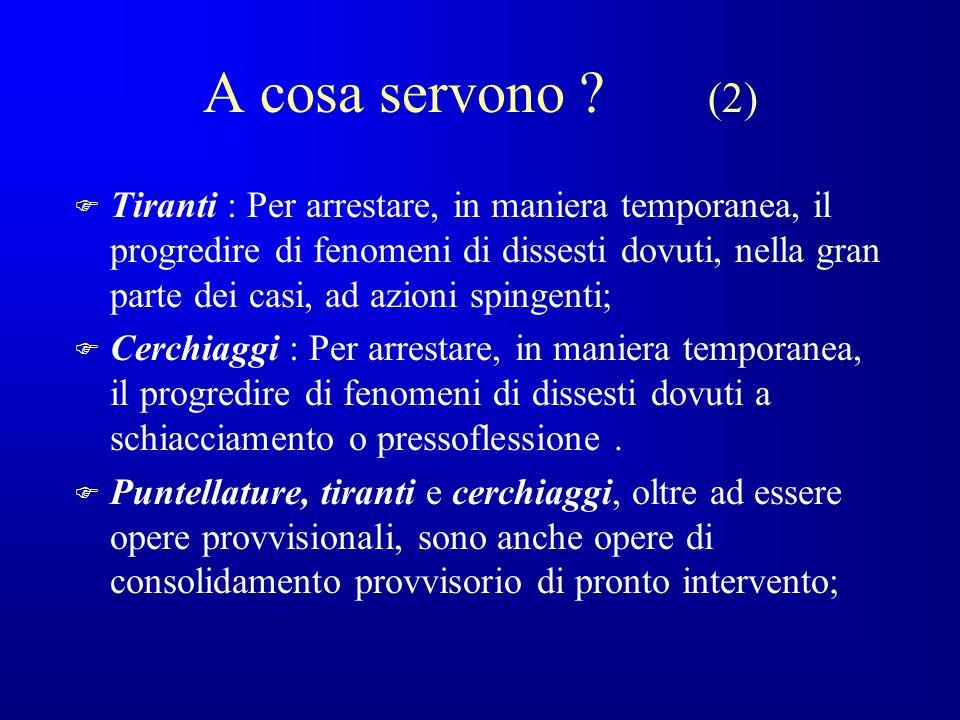 Presidio di vani F muratura (preferibile); F anche per deformazioni rombiche.