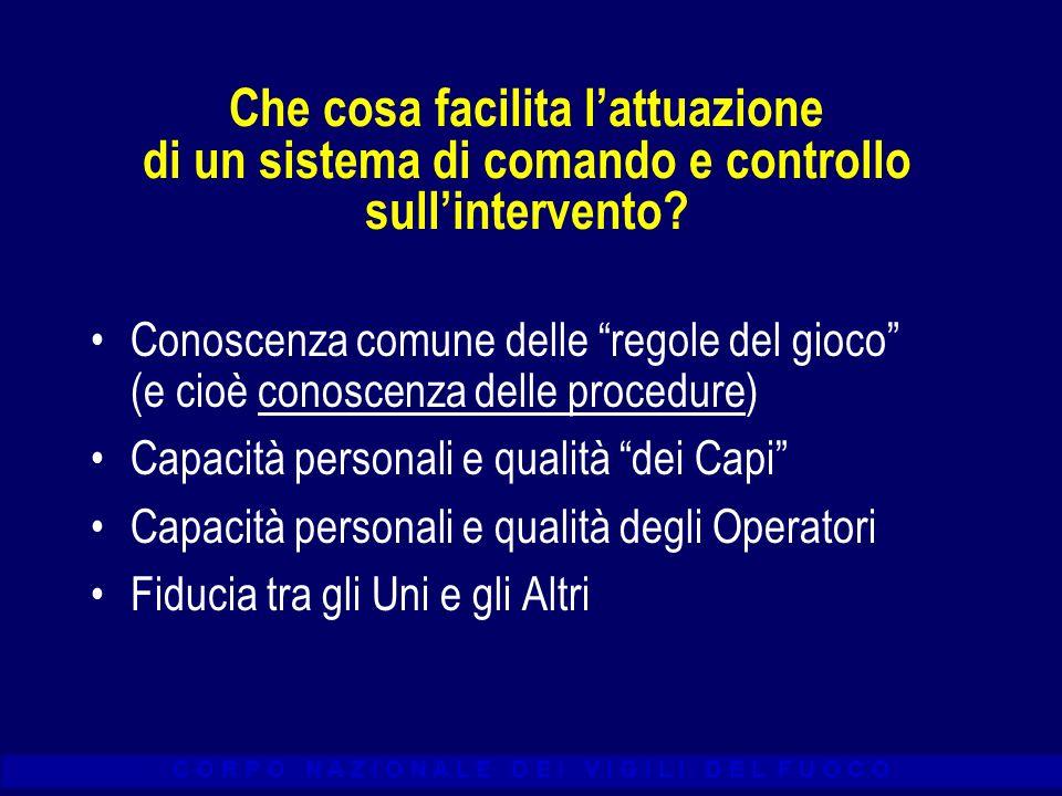 C O R P O N A Z I O N A L E D E I V I G I L I D E L F U O C O Che cosa facilita lattuazione di un sistema di comando e controllo sullintervento? Conos