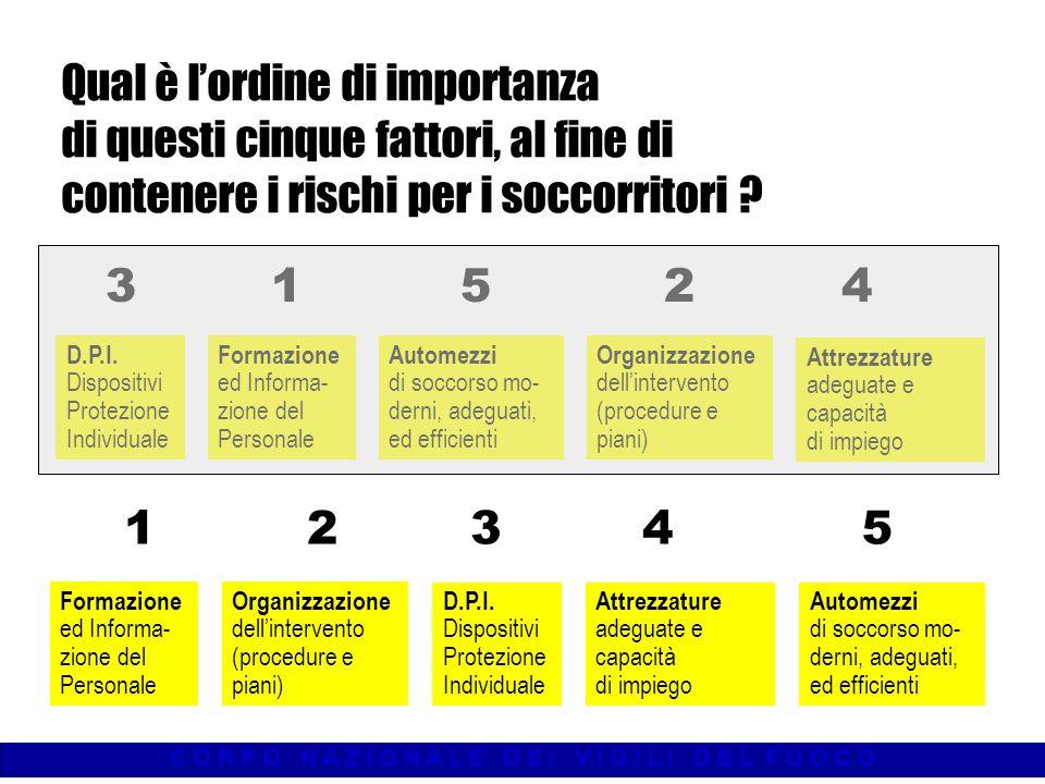 C O R P O N A Z I O N A L E D E I V I G I L I D E L F U O C O Qual è lordine di importanza di questi cinque fattori, al fine di contenere i rischi per