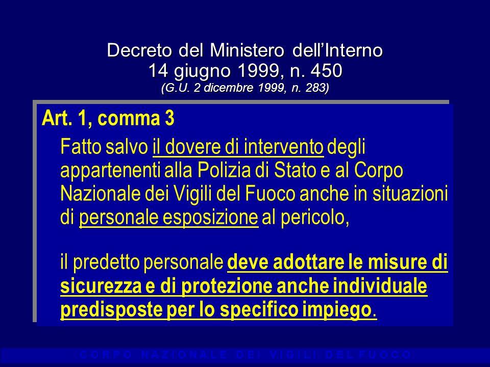 C O R P O N A Z I O N A L E D E I V I G I L I D E L F U O C O Decreto del Ministero dellInterno 14 giugno 1999, n. 450 (G.U. 2 dicembre 1999, n. 283)