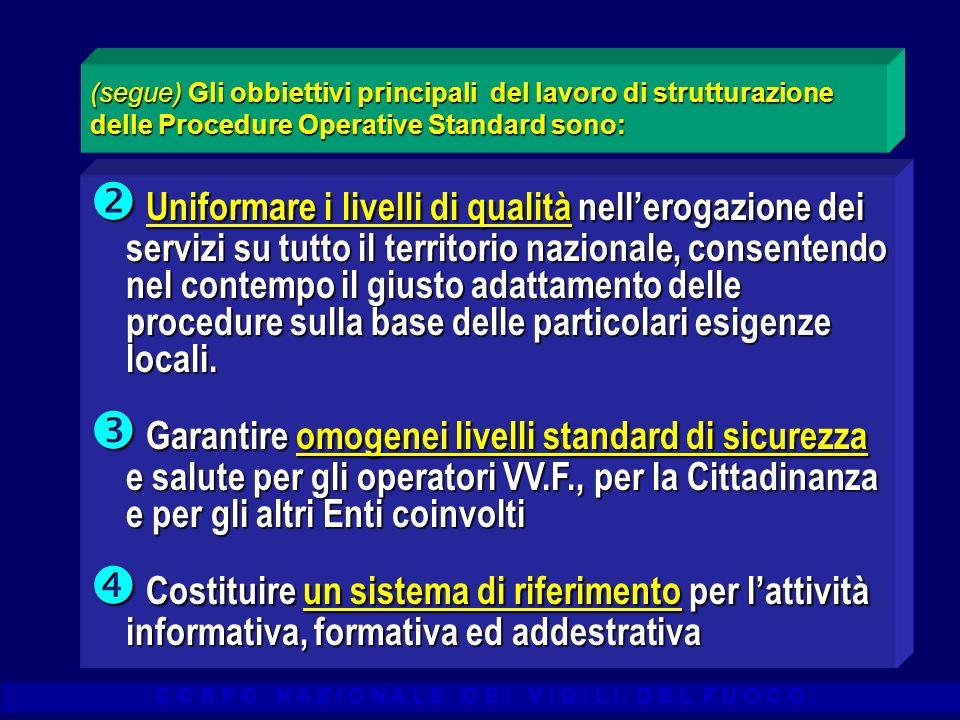 C O R P O N A Z I O N A L E D E I V I G I L I D E L F U O C O (segue) Gli obbiettivi principali del lavoro di strutturazione delle Procedure Operative