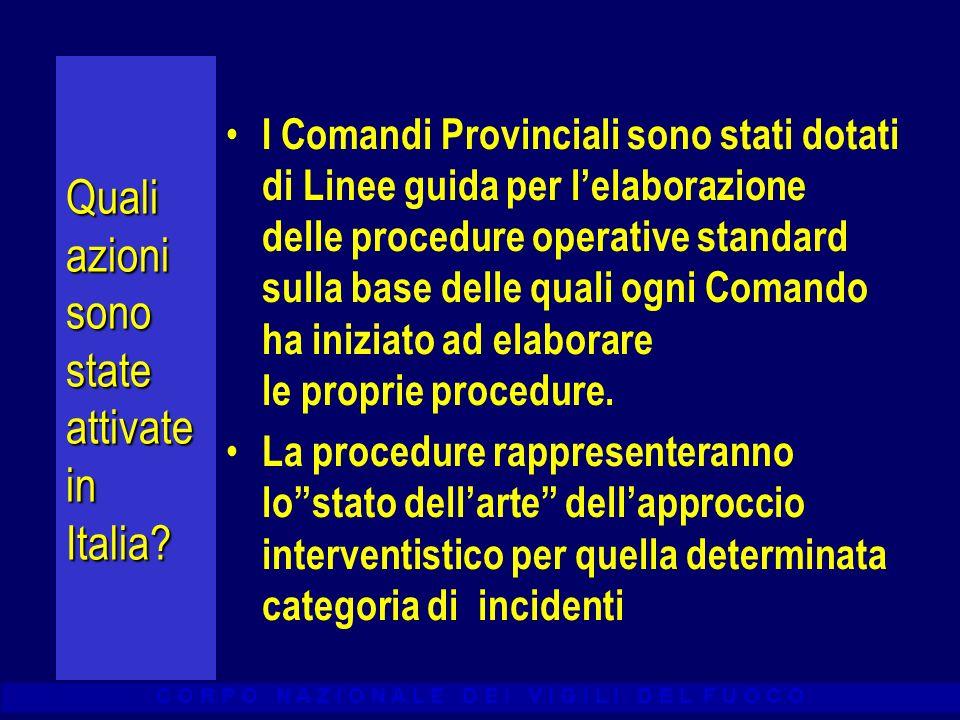 C O R P O N A Z I O N A L E D E I V I G I L I D E L F U O C O Quali azioni sono state attivate in Italia? I Comandi Provinciali sono stati dotati di L