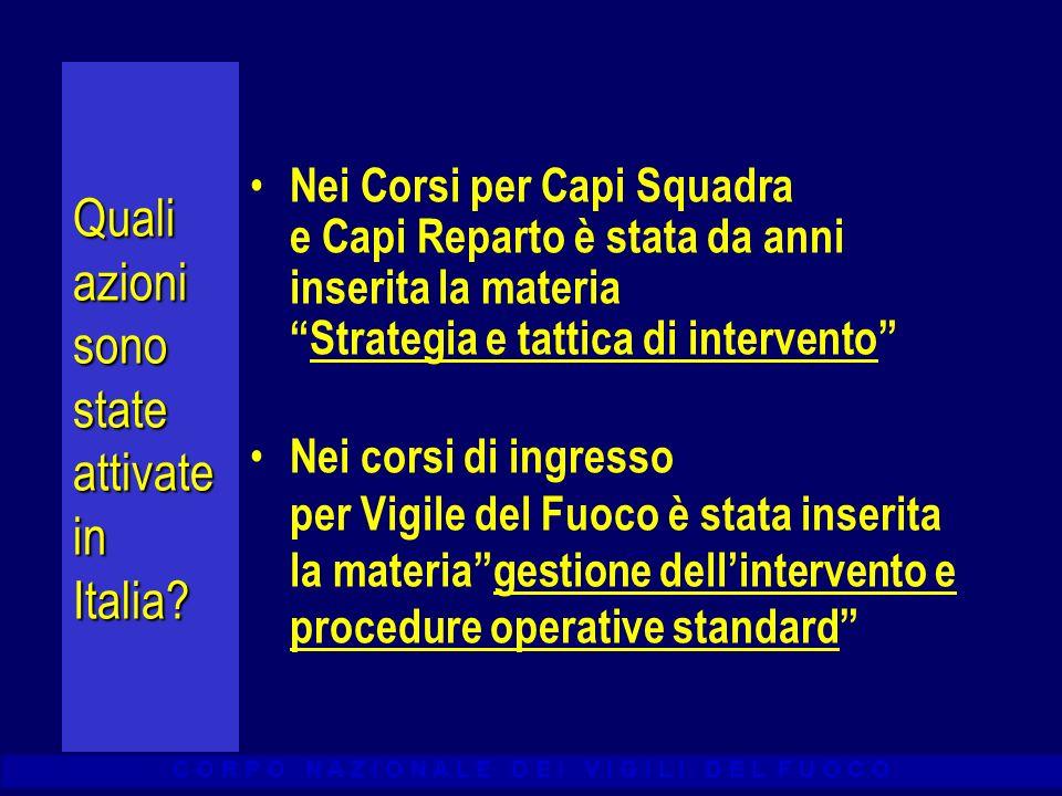 C O R P O N A Z I O N A L E D E I V I G I L I D E L F U O C O Quali azioni sono state attivate in Italia? Nei Corsi per Capi Squadra e Capi Reparto è