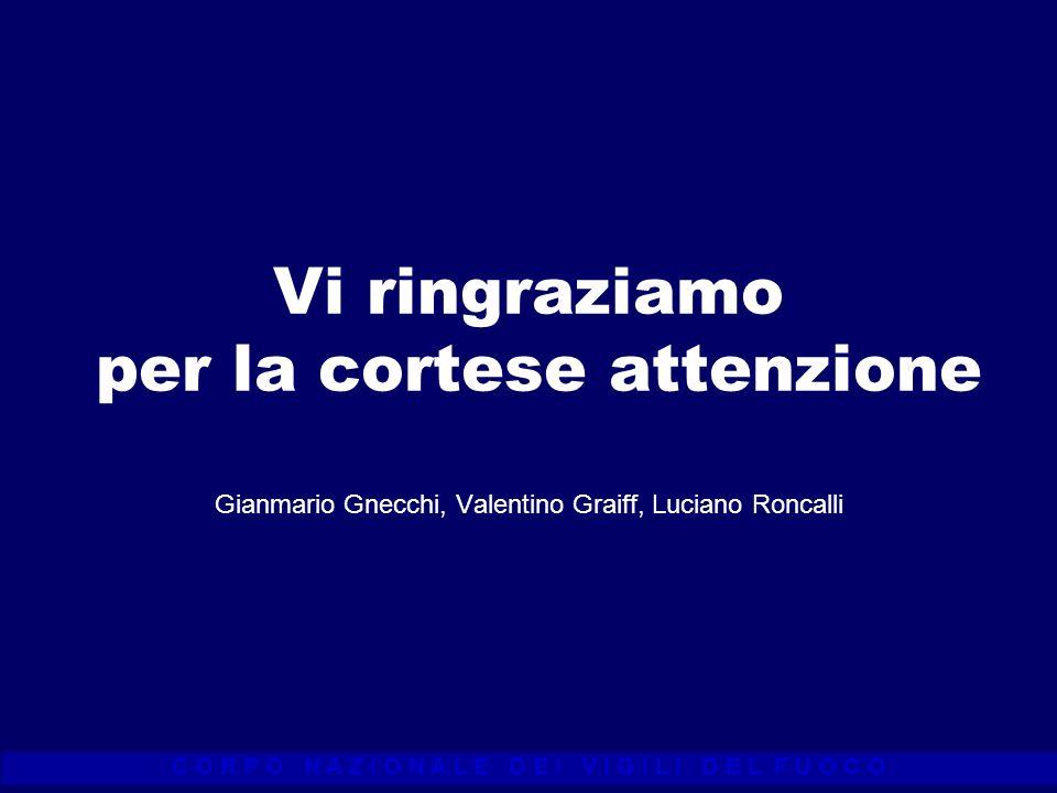 C O R P O N A Z I O N A L E D E I V I G I L I D E L F U O C O Vi ringraziamo per la cortese attenzione Gianmario Gnecchi, Valentino Graiff, Luciano Ro